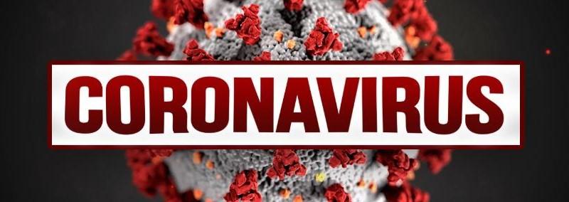 enlarged virus with text coronavirus